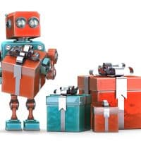 robot holding gifts