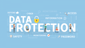 Words data protection with word cloud of security best practices and security icons
