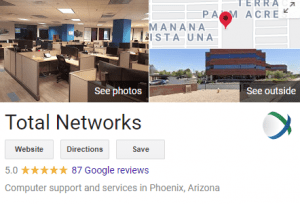 total networks google my business screenshot