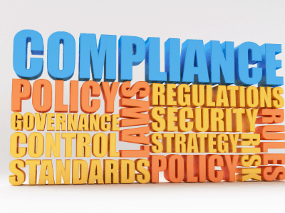 compliance policy regulation security word cloud