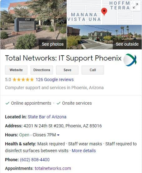 Total Networks Google My Business Listing