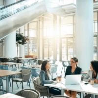 workers in open flexible workspace