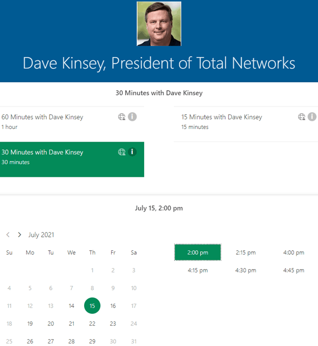 Dave Kinsey Bookings Page example